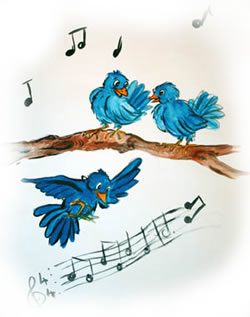 3 blue birds singing a song...